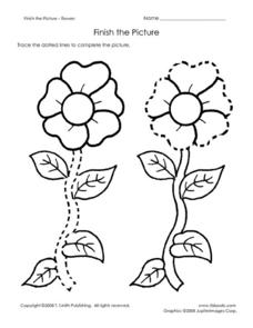 Finish the Picture: Flowers Worksheet