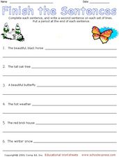 Finish the Sentences 3 Worksheet