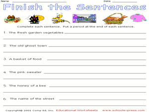 Finish the Sentences 4 Worksheet