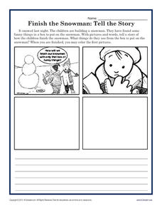 finish the snowman tell the story kindergarten 3rd grade worksheet lesson planet. Black Bedroom Furniture Sets. Home Design Ideas