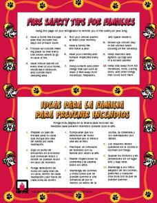 Fire Safety Tips for Families Worksheet