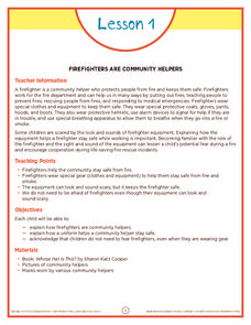 Firefighters Are Community Helpers Pre-K - 1st Grade Lesson Plan ...