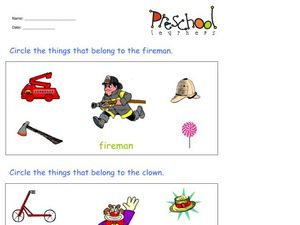 Fireman and Clown Worksheet