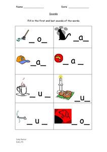 First and Last Sounds - CVC Word Pattern Worksheet