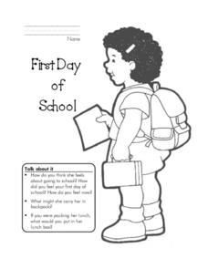 First Day of School Coloring Sheet Worksheet