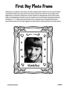 First Day Photo Frame Worksheet