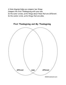 First Thanksgiving and My Thanksgiving Worksheet