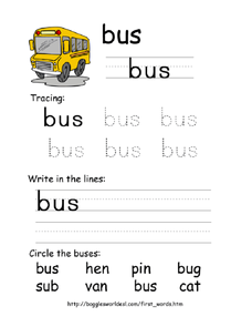 First Word: Bus Worksheet