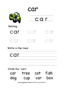 First Word: Car Worksheet