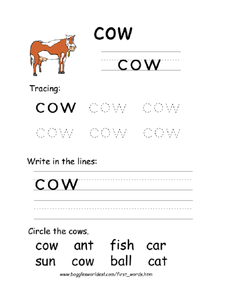 First Word: Cow Worksheet
