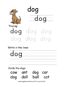 First Word: Dog Worksheet