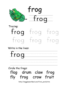 First Word: Frog Worksheet