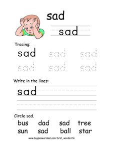 First Word: Sad Worksheet