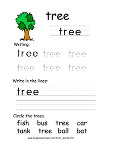 First Word: Tree Worksheet