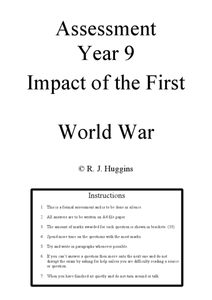 First World War Assessment Worksheet