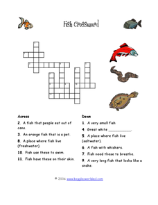 Fish Crossword Puzzle Worksheet
