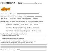 Fish Research Worksheet