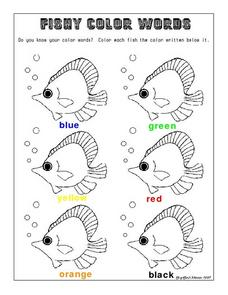 Fishy Color Words Worksheet