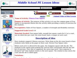 Fitness Four Square Lesson Plan