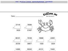 Five Digit Subtraction with Zero Worksheet