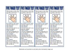 Five Finger Test Printables & Template