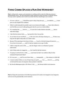 Comma Splice Worksheet - Khayav