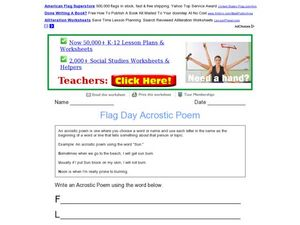 Flag Day Acrostic Poem Worksheet