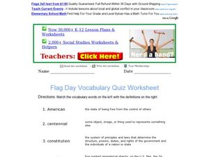 Flag Day Vocabulary Quiz Worksheet