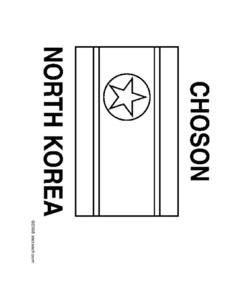 Flag of North Korea Coloring Page Worksheet