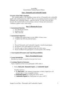 Flammable and Combustible Liquids Lesson Plan