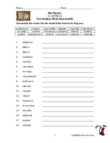 flat stanley vocabulary word unscramble 2nd 3rd grade worksheet lesson planet. Black Bedroom Furniture Sets. Home Design Ideas