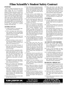 Flinn Scientific's Student Safety Contract Worksheet