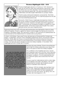 Florence Nightingale Worksheet