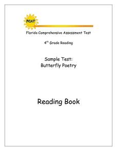 Florida Comprehensive Assessment Test 4th Grade Reading Sample Test: Butterfly Poetry Worksheet