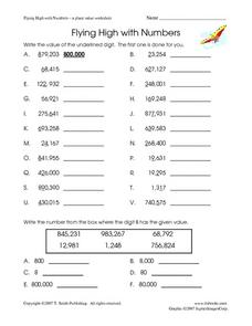 Flying High with Numbers: A Place Value Worksheet Worksheet