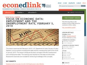 Focus on Economic Data: Employment and Unemployment Rate Lesson Plan