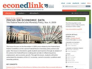 Focus on Economic Data: The Federal Reserve and Monetary Policy. Lesson Plan