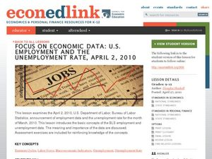 Focus on Economic Data: U.S. Employment and Unemployment Rate Lesson Plan