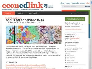 Focus On Economic Data: U.S. Real GDP Growth, January 29, 2010 Lesson Plan
