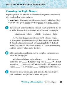 Focus on Writing a Description: Choosing the Right Nouns Worksheet