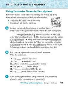 Focus on Writing a Description: Possessive Nouns Worksheet