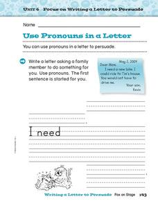 Focus on Writing a Letter to Persuade: Use Pronouns in a Letter Worksheet