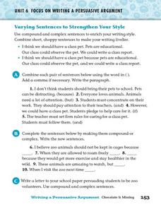 Focus on Writing a Persuasive Argument: Varying Sentences 4th - 6th ...