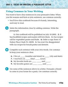 Focus on Writing a Persuasive Letter: Commas Worksheet
