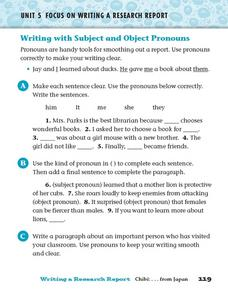 Focus on Writing a Research Report: Subject and Object Pronouns Worksheet