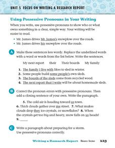 Focus on Writing a Research Report: Using Possessive Pronouns Worksheet