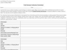 Folk Remedy Collection Worksheet Worksheet