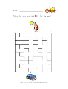 Follow the Maze and Help Billy Find the Pool--Maze Worksheet