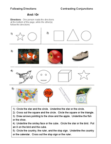 Following Directions Contrasting Conjunctions Worksheet