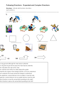 Following Directions: Expanded and Complex Directions Worksheet